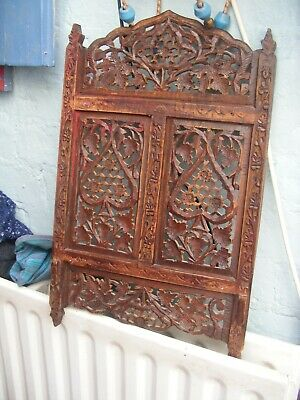 Antique INDIAN carved wood panel.