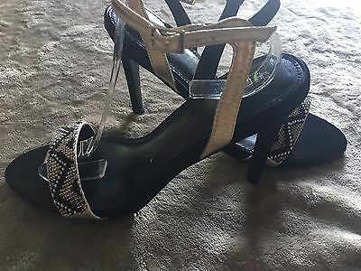 Bnwt Next Black & Gold Beaded Strapy Sandals Shoes Size Uk 6.5 Us 8.5 Eu 40