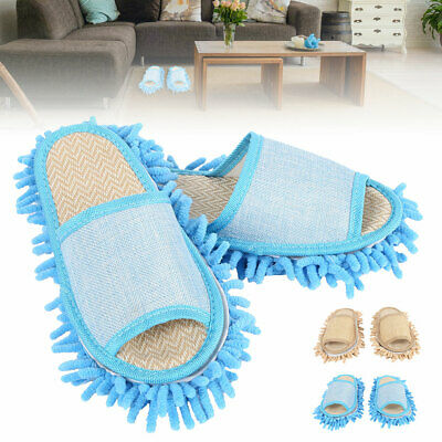 pair Mop Slippers Lazy Floor Foot Socks Shoes Quick Polishing Cleaning Dust L