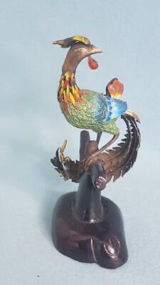 Captivating Early C20th Chinese Enamelled Export Silver Exotic Bird Figurine