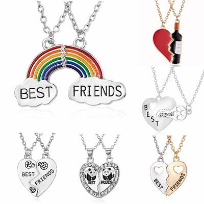 Best Friend Forever Heart Necklace Crystal BFF Friendship Charm Chain Gift Party