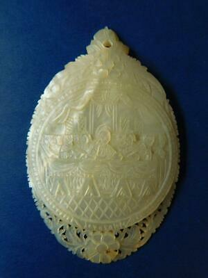 Carved Pierced Pearl Shell Cameo style 'Last Supper' Amulet Pendant