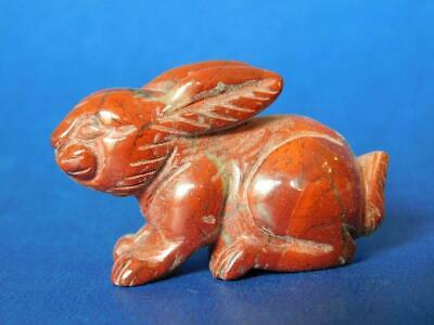 Antique Carved Chinese Red Jade Rabbit Cabinet Ornament 1800s