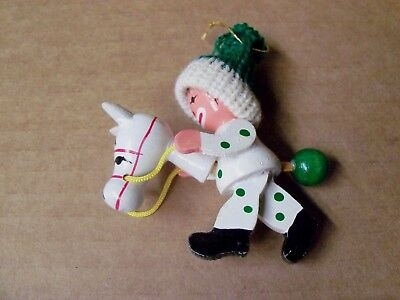 Wood/ Wooden Christmas Tree Ornament Clown On A Stick Pony