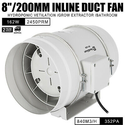 8in Inline Duct Fan Hydroponic Ventilation Blower ABS Plastic Booster Extractor
