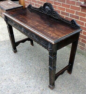 Victorian antique solid carved oak Green Man console hall serving side table