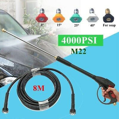 4000PSI High Pressure Water Washer Spray Gun and 8M Hose Extend Wand & 5Tips Set