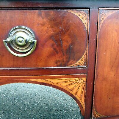 George III Sheraton period antique mahogany inlaid bow front sideboard sideboard