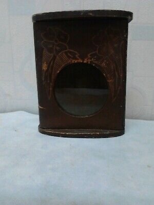 Antique Old Hand Made Hand Carved Wooden Wall Hanging Clock Box