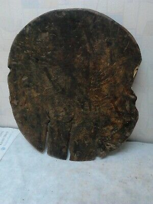 Primitive Antique  Old Hand Carved Big Massive Wooden Plate Original Dark Patina