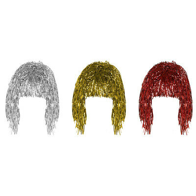 3Pcs Gold White & Red set of 3 Shiny Metallic Foil Adult Fancy Dress Tinsel Wigs