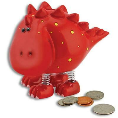 Smiling Bobble Red Children's Stegosaurus Dinosaur Bank Spring Legs Piggy Bank *