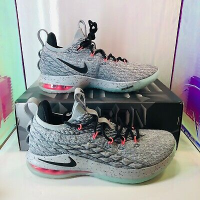 20e1a9f2ab9 Nike Lebron XV 15 Low Melon Cool Grey Men s Basketball Shoes Size 11 AO1755- 005