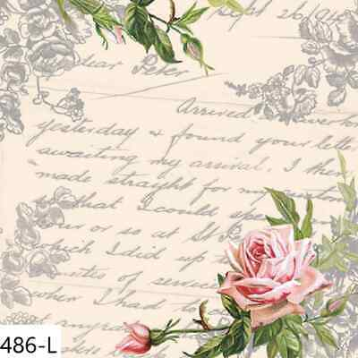 TWO New Paper Luncheon Decoupage Napkins - ROSE, SCRIPT, LETTER, FLOWERS, (486)