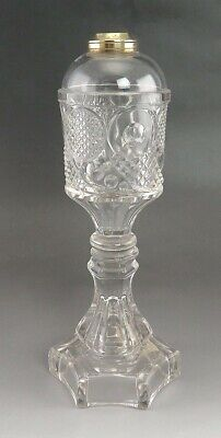 Antique c1850 Pressed Glass & Metal Whale Oil Burning Lamp