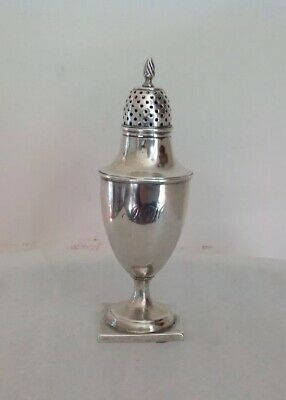 """Antique 19th Cent Silver Sugar Caster Shaker Muffineer Flame Finial Holloware 6"""""""