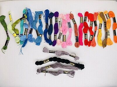lot of 22 dmc embroidery floss thread cotton six strand red yellow blue green