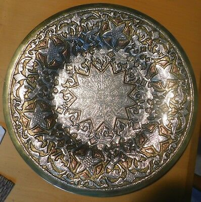 "Islamic prayer plate, heavy silver and copper inlay,13.5"" diameter"