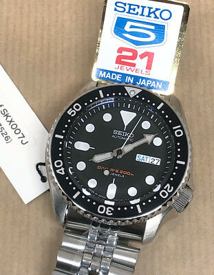 Seiko SKX007J2 Automatic Diver's 200M *Made in Japan* genuino SKX007