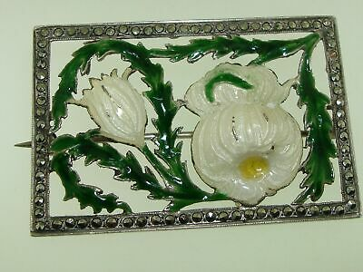 Lovely Antique Sterling Silver Filigree Enamel & Marcasite Pin Signed Franco!