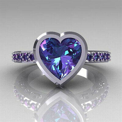 Women Ladies Amethyst Heart Ring Wedding Bridal Engagement Ring Elegant Stylish