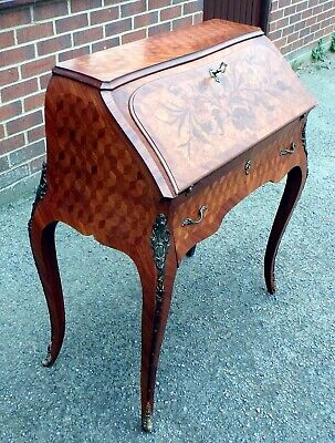 Vintage Louis XVI style French marquetry parquetry bureau ladies writing desk