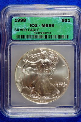 1998 American Silver Eagle ASE $1 ICG certified MS-69 BEAUTIFUL Premium Quality