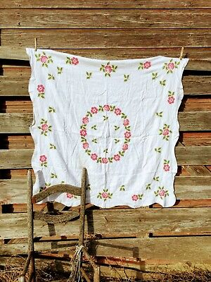 Vintage tablecloth 44 x 43 Linen Cotton Pink Embroidery Cross stitch Flowers