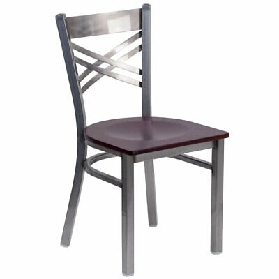 Flash Furniture Metal Dining Chair in Mahogany