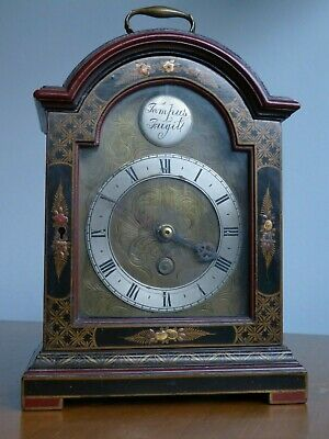 Antique Mantel clock case w. Chinoiserie lacquered decoration +Tempus Fugit boss