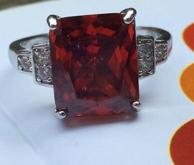 Art Deco Vintage 925 Sterling Silver Ruby Cocktail Ring / White Sapphire Size P