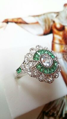 177 925 Sterling Silver Art Deco Vintage Green & White Sapphire halo ring size R