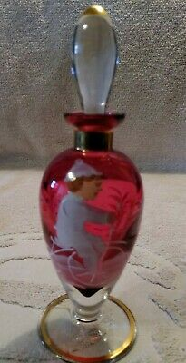 """Vintage Mary Gregory Cranberry Glass Perfume Bottle with Stopper 6-1/2"""" tall"""