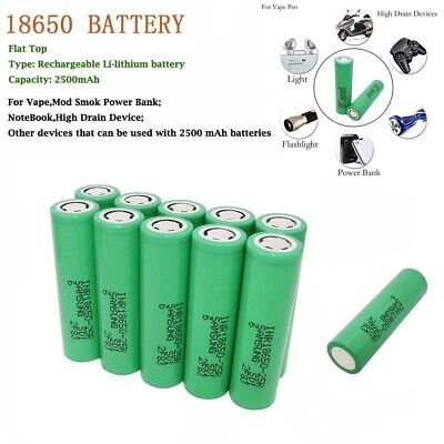 10pcs 18650 2500mAh Batterie 3.7V Li-ion Recargable High Drain 25R Battery-Vape
