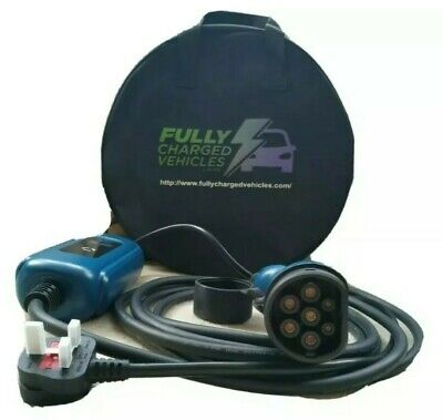 BMW 330e portable EV charger 5m. UK 3 pin plug. Charge your electric car.