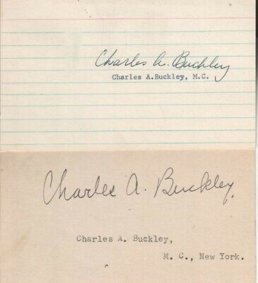 (2) Charles Buckley Autographed Index Cards New York Politician 1935-1965 D.67