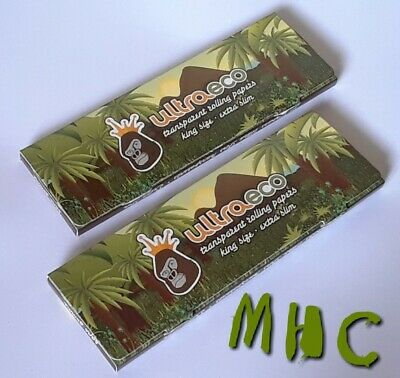 2 Books! UltraEco King Size Clear Transparent Cellulose Cig. Rolling Papers!