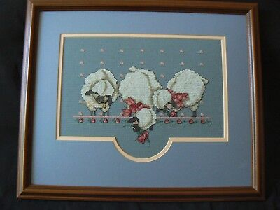 Completed Cross Stitch Piece Sheep Lamb Design Pink/Blue Baby Framed Matted