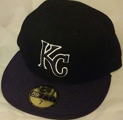 the latest 9a1a4 6f9ba NEW ERA Kansas City Royals KC black 59FIFTY size 7 fitted baseball cap hat  mlb