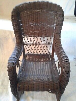 Antique Child's  Brown Wicker Rocking chair 29-1/2 inches Tall