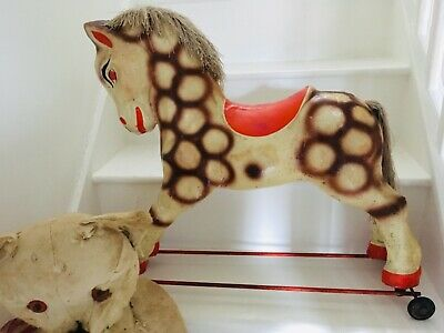 Stunning Rare Vintage Antique Toy Childs/Baby French Pull Along Horse