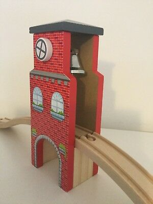 Red Wooden Railway Train Bridge Clock & Bell Tower with 2 Ramps & Tunnel NEW