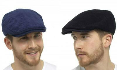 New Tom Franks Traditional Cord Flat Cap 100% Cotton peaked hat Navy Black