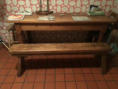 Beautiful Antique Wooden Bench for Cottage Kitchen or Dining Table