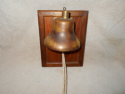 Solid Brass 5 inch Ships Bell w/ Brass Clapper and Rope Mounted on Wooden Frame