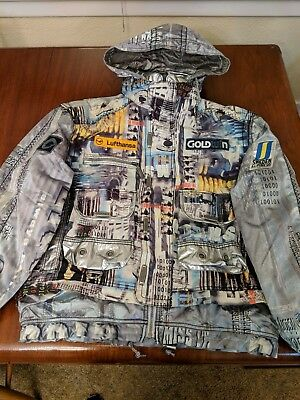 RARE Vintage Goldwin 1996 Sweden Alpine Ski Team Jacket Mens M Mosaic/Collage