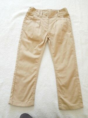 A Lovely Pair Of NEXT Girls Cream Cotton Trousers Age 6yrs With Adjustable Waist