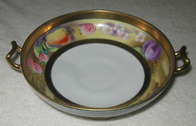 "Antique/Vintage Decorative Nippon China Fruit Bowl -  Gold Trim Handles - 8"" Dia"