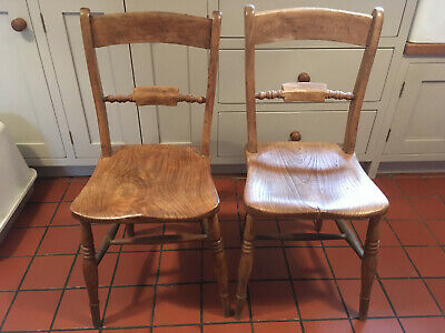 Lovely Pair of Antique Bar Back Chairs for Cottage Kitchen/Dining Room