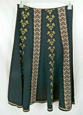 5f4f2ac3f0 Allison Taylor Nights Womens Size 6 Black & Gold Embroidered Skirt EZ Care  Wear
